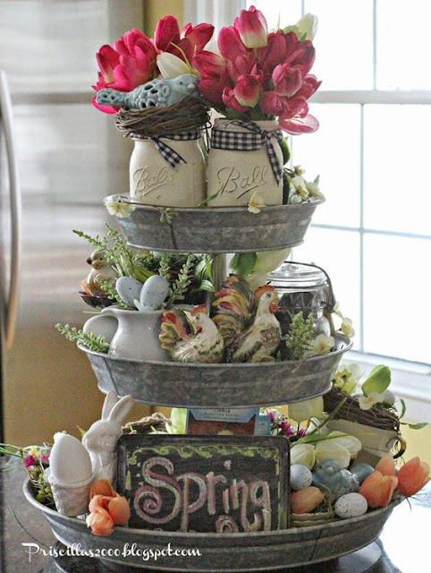 15 pretty tiered trays for spring.