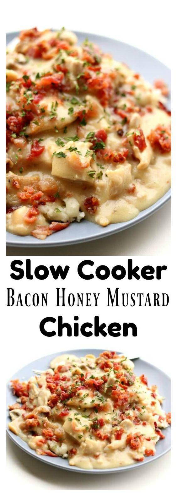 Slow Cooker Bacon Honey Mustard Chicken