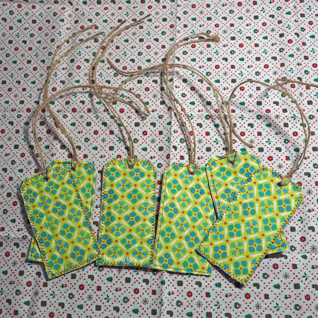 Easy Christmas gift tags to make. Materials needed - paper bag and fabric scraps ~ Threading My Way