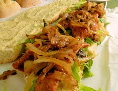 Alligator Sausage Po'Boys w/ Caramelized Onions & Creole Mayo