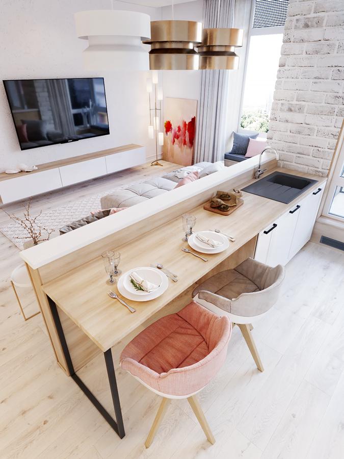 Espacio abierto salón con cocina