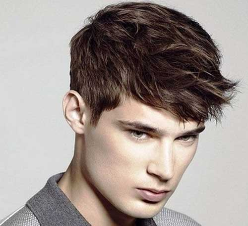 Front Pushed Short Hair For Men With Straight Hair.