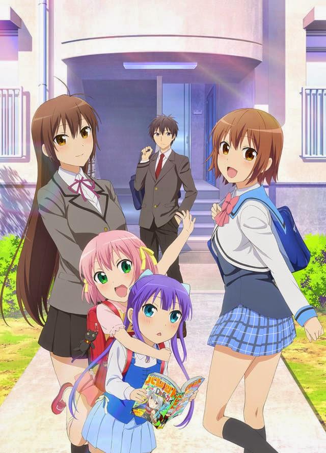 Plakat promocyjny anime Danchigai na którym jest Haruki Nakano i jego cztery siostry