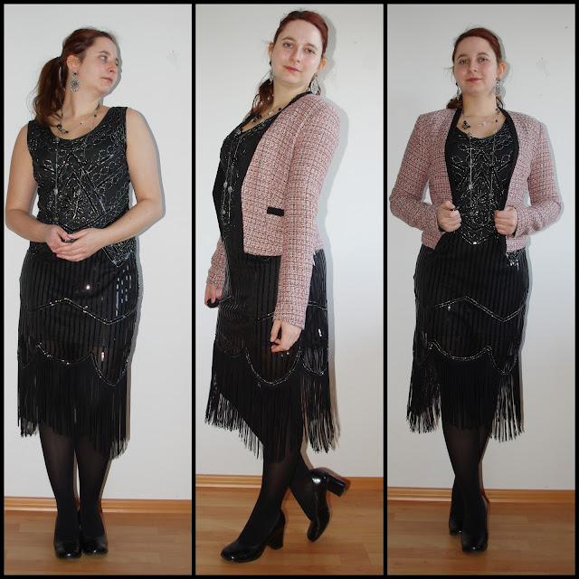 [Fashion] Silvester Outfit: Schwarzes Pailettenkleid Gatsby-Style mit Bouclé