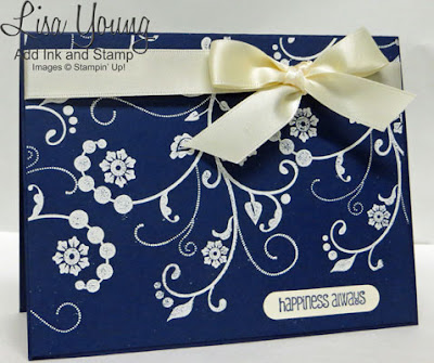 Stampin' Up! Flowering Flourishes stamp set. Navy and White wedding card. Handmade card by Lisa Young, Add Ink and Stamp