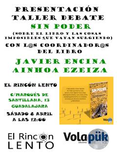 Liburuaren aurkezpena Guadalajarako El Rincon Lento-n, apirilak 8 12:00etan