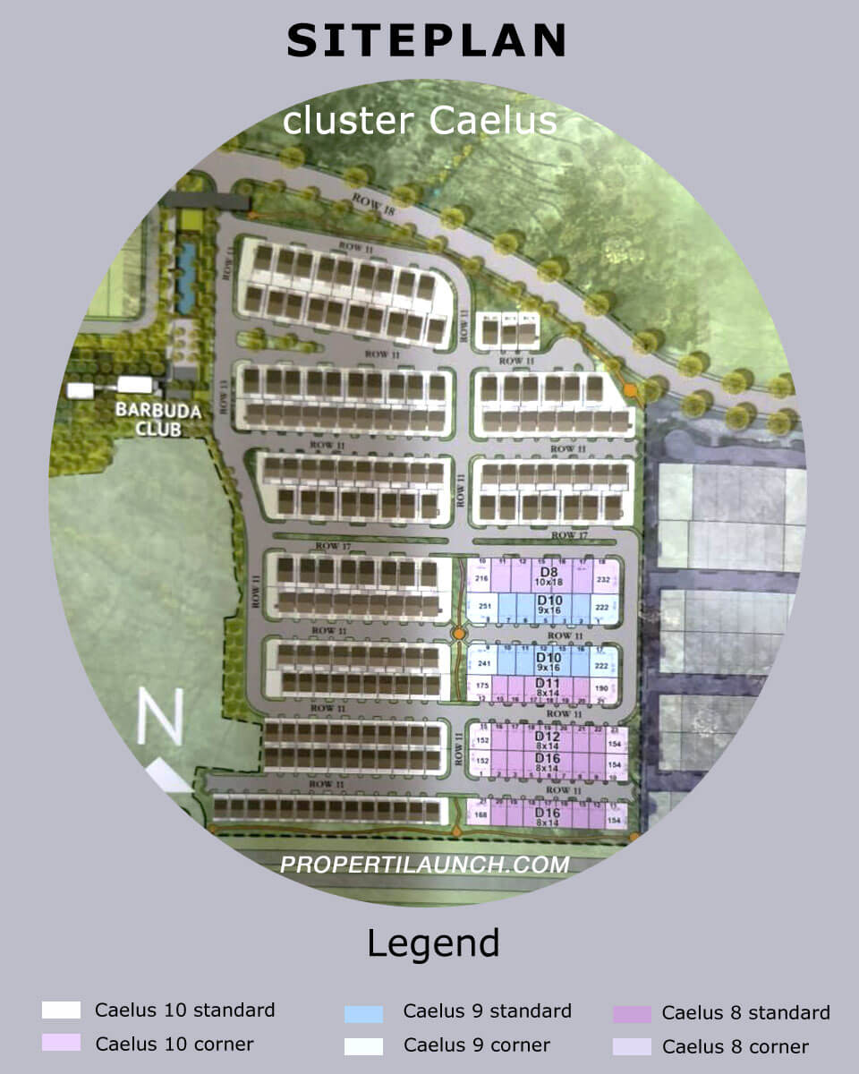 Site plan Cluster Caelus Greenwich Park BSD