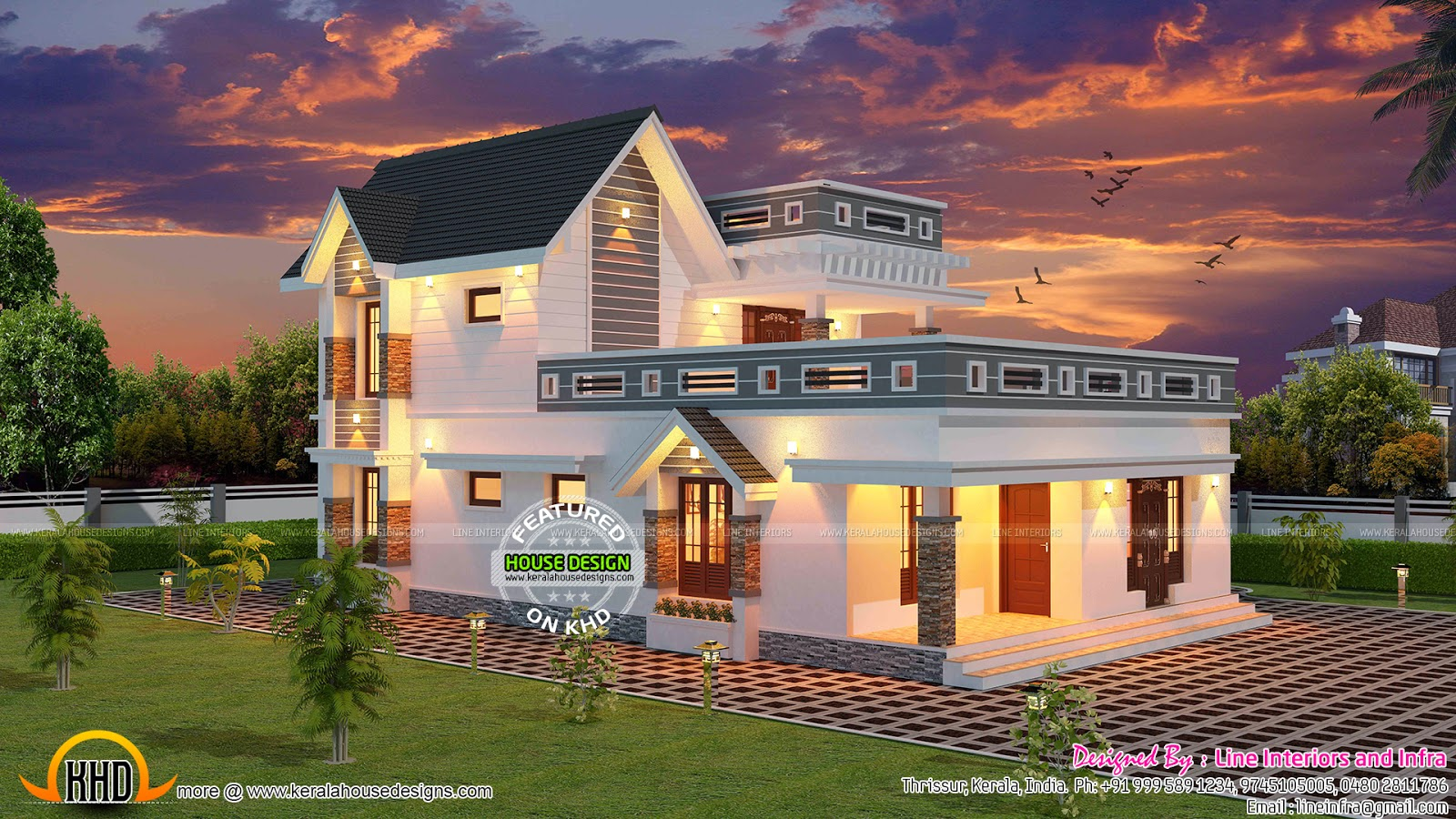 3 bhk 2500 sq ft kerala house plan kerala home design for Modern kerala style house plans with photos