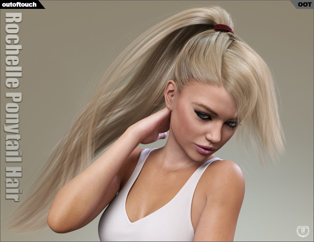 3d Models Art Zone - Rochelle Ponytail Hair for Genesis 3 Female(s)
