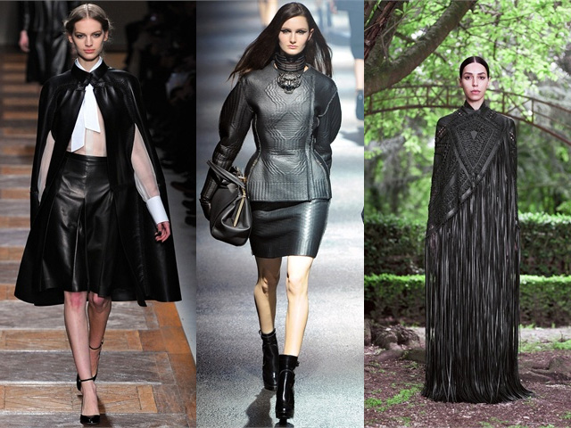 fall 2012 trends, leather trend, lanvin, valentino, givenchy