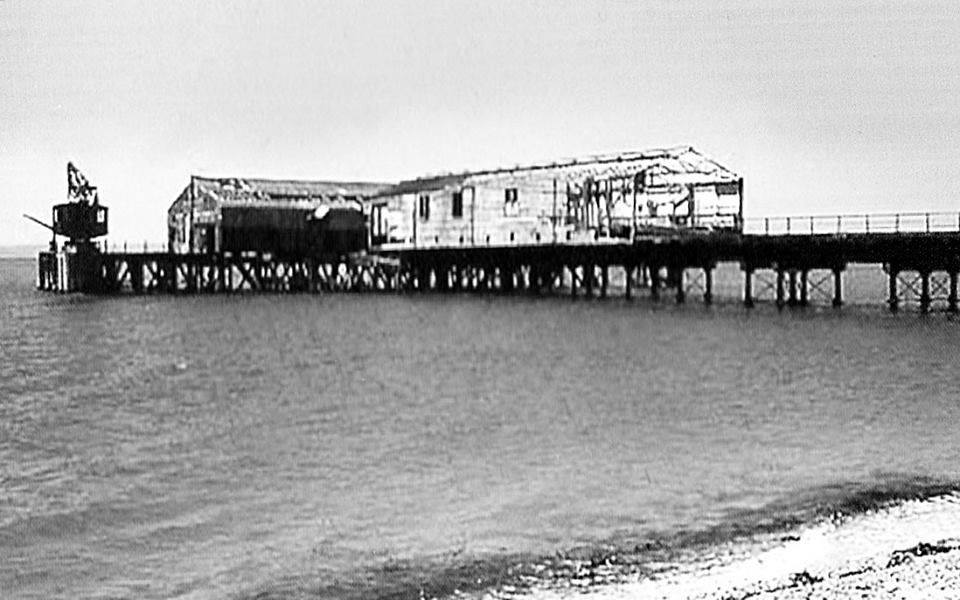 Demolition of train shed Stokes Bay Pier
