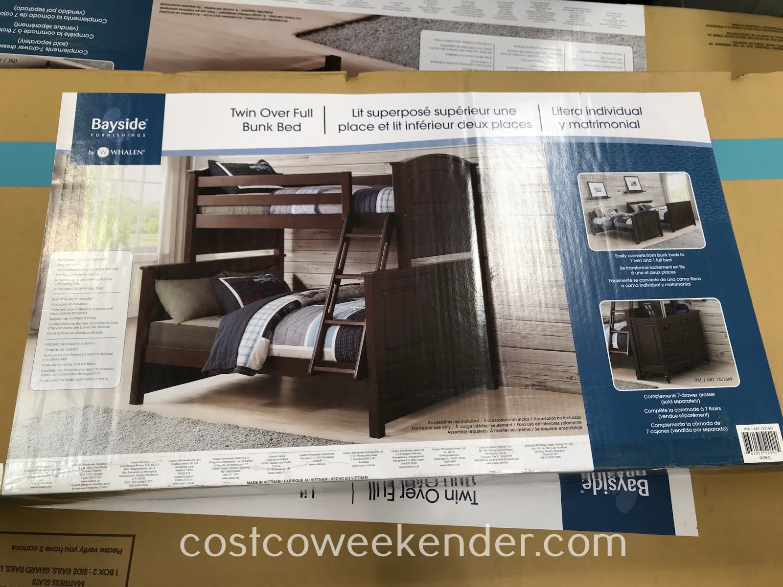 Costco 1321647 - Save space in your kids' bedroom with the Whalen Bayside Furnishings Twin Over Full Bunk Bed