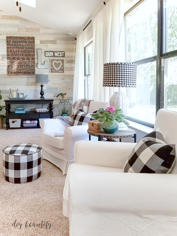 light and airy sunroom with neutrals