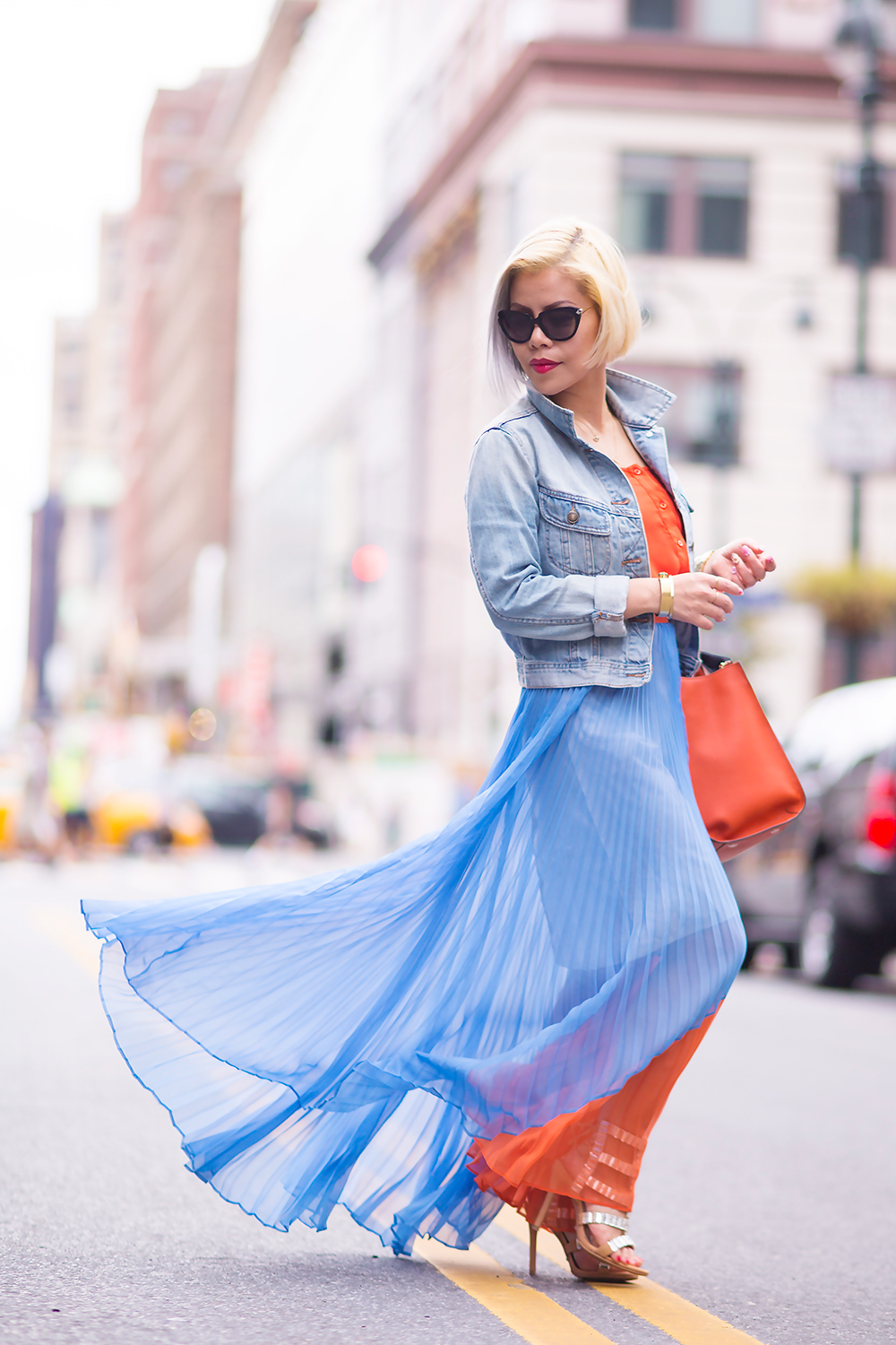 Crystal Phuong- New York Fashion Week 2015- Day 4 in Lie maxi skirt and denim jacket