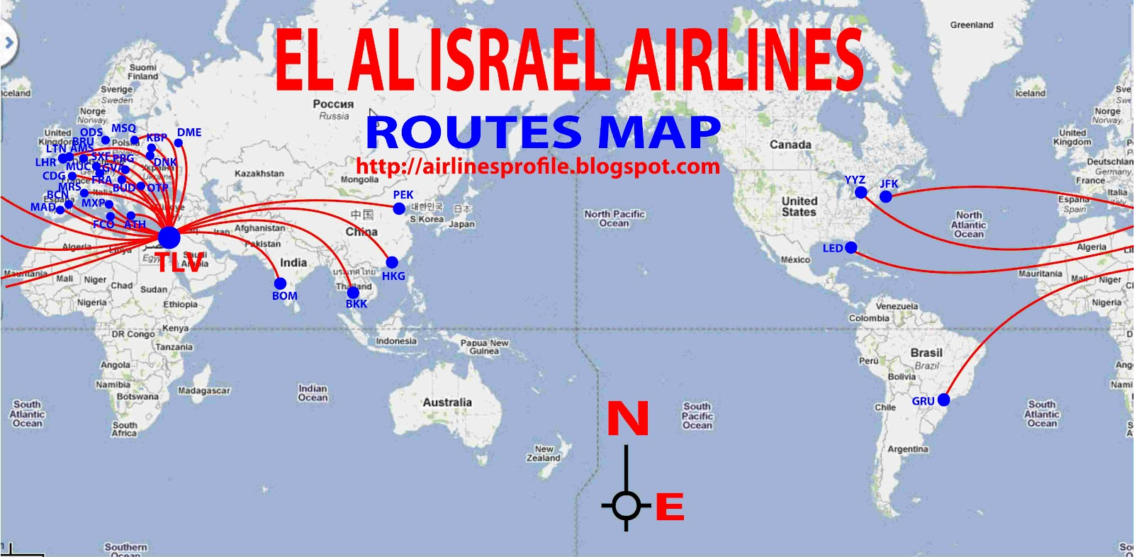 International Flights El Al Route Map