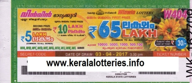 Kerala lottery result official copy of Win Win-W-411