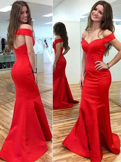 Trumpet/Mermaid Off-the-shoulder Satin Sweep Train with Ruffles Prom Dresses