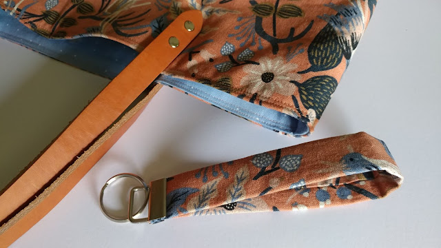 Matching tote bag and key chain wristlet from Les Fleurs fabric canvas by Rifle Paper Co. and Cotton + Steel