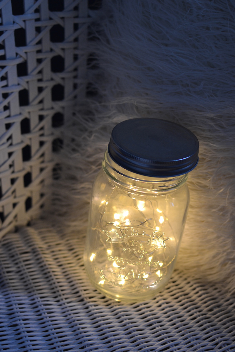 mason jar transparente et guirlande cuivre - Hema