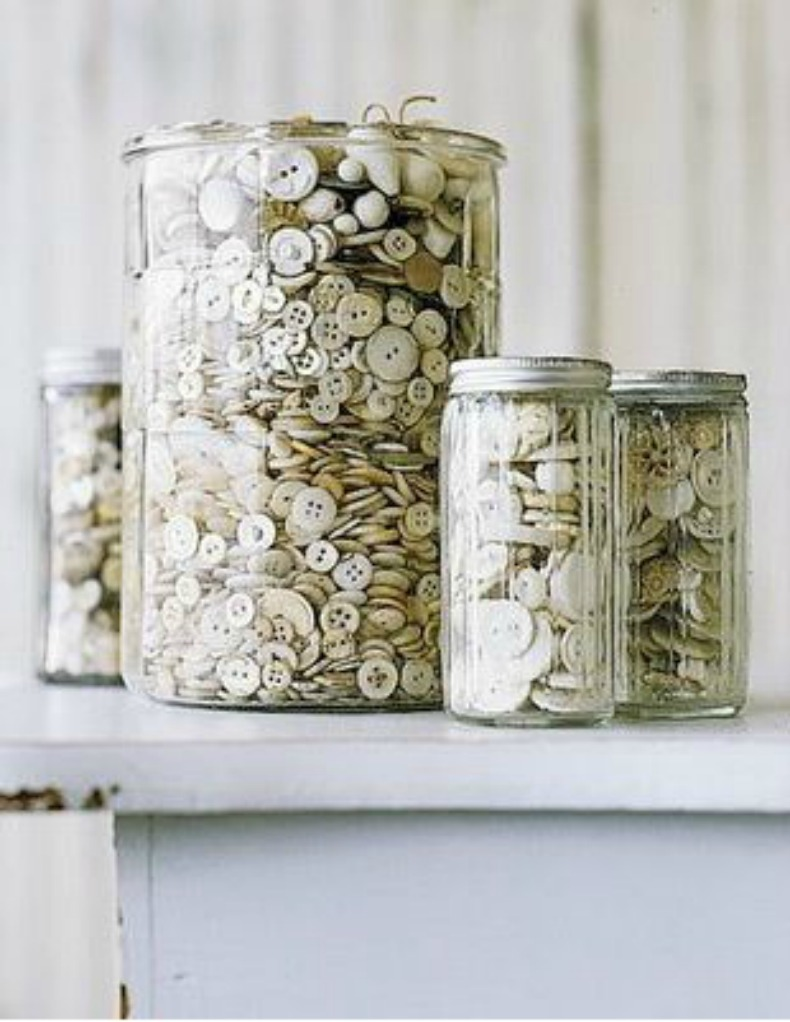 glas jars with collections
