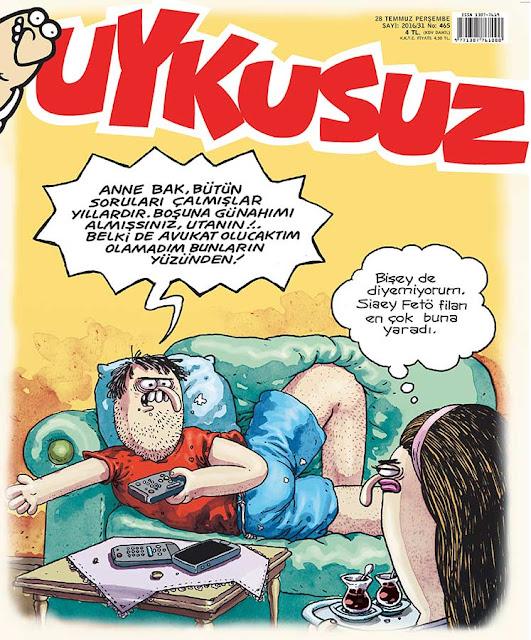 Uykusuz Dergisi - 28 Temmuz 2016 Kapak Karikatürü