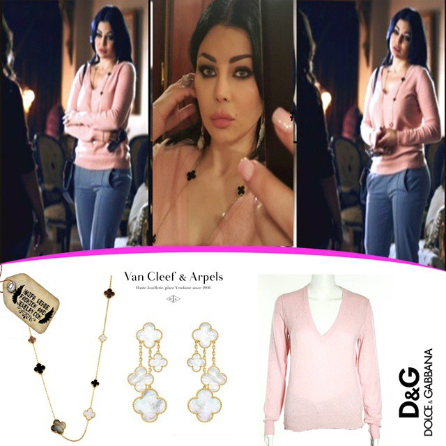 Haifa Wehbe Wearing Dolce and Gabbana Cashmere Sweater and Van Cleef and  Arples Jewelry 3f3d54864eefa