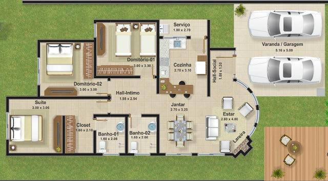 Plano de casa de 112 m2 planos de casas gratis y for Disenos para construir una casa