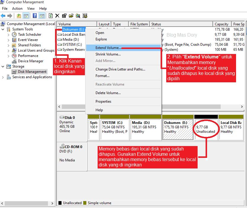 Extend volume unallocated disk yang sudah dihapus ke local disk yang diinginkan, Blog Mas Dory