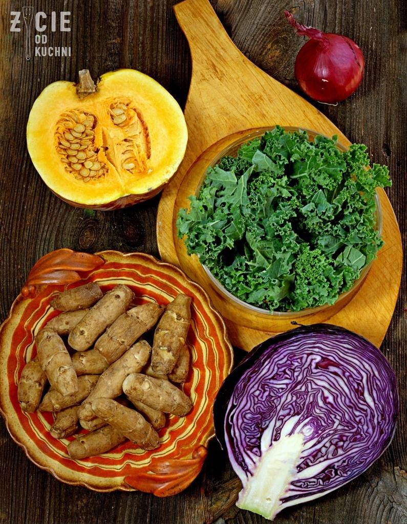 topinambur, jarmuz, dynia, dania z topinamburem, przepisy z topinamburem, kapusta czerwona, styczen warzywa sezonowe, styczen sezonowe przepisy, zycie od kuchni