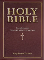 A photo of a Holy Bible, that reads Holy Bible, Old and New Testaments KJV