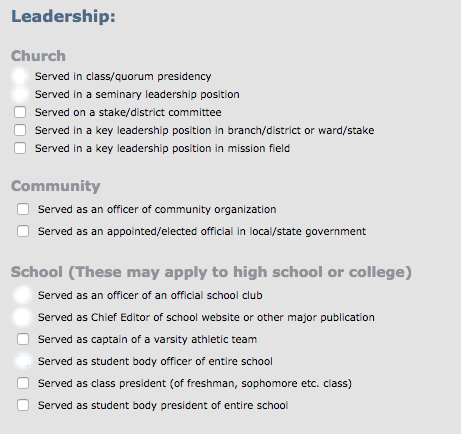 byu application series part discovering byu  part 6 of the application asks about extracurriculars for the majority of it you just check the boxes that apply to you there is a short answer section