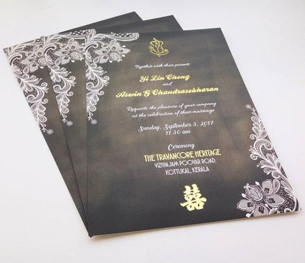 Chinese Indian Wedding Card Printing Kuala Lumpur Malaysia, ganesha logo, double happiness logo, chalkboard background, lace design, gold stamping, foil, india, singapore, selangor, perak, penang, kedah, kelantan, bentong, pahang, johor bahru, melaka, seremban, online order, express, art card, fine linen, setapak, gombak