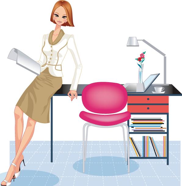Ejecutiva, mujer trabajadora - Vector