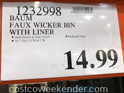 Costco 1232998 - Deal for the Baum Faux Wicker Bin with Liner at Costco