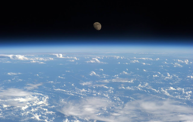 Earth and Moon seen from the International Space Station