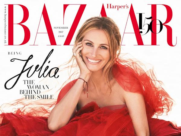 Julia Roberts na capa da Harper's Bazaar de novembro nos EUA e no Reino Unido