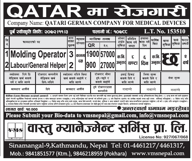 Attractive Jobs in Qatr for Nepali, Salary Rs 57,000