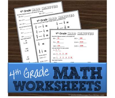 free forth grade math worksheets