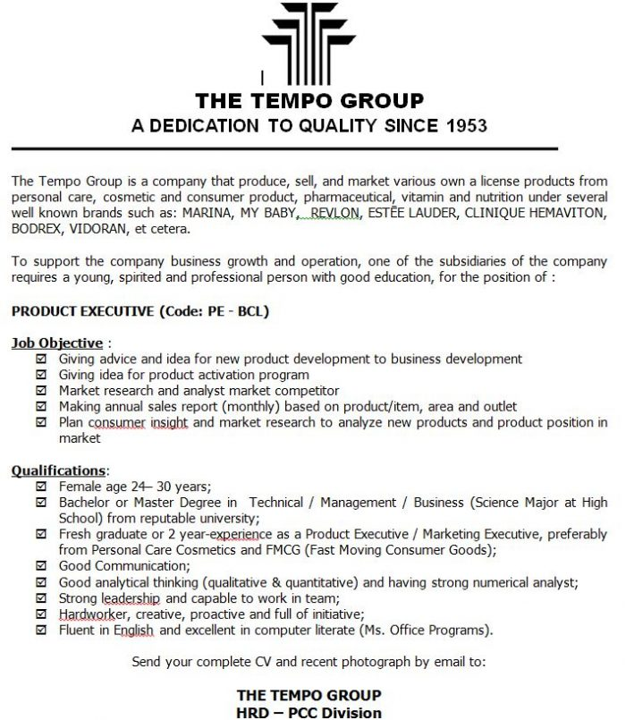 Lowongan Kerja Fresh Graduate Product Executive The Tempo Group