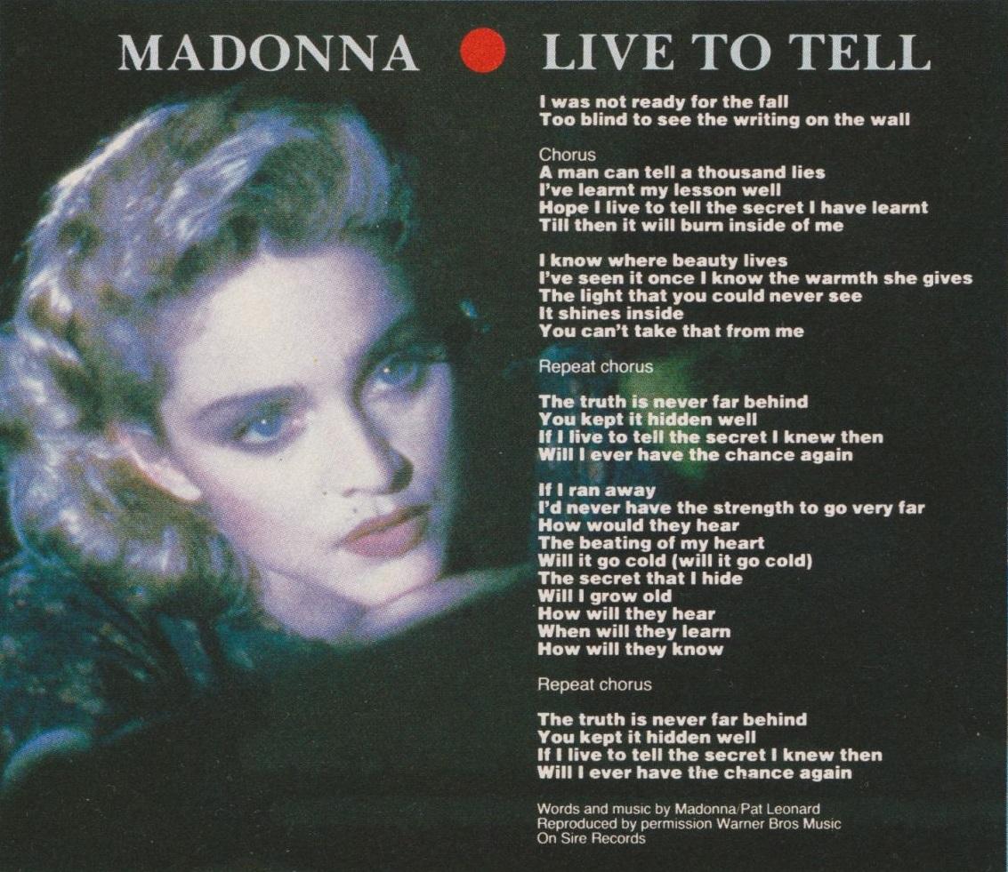 madonna live to tell lyrics top of the pops 80s madonna