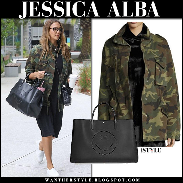 Jessica Alba in green camo print parka, black dress and white sneakers vince celebrity street fashion august 25 2017