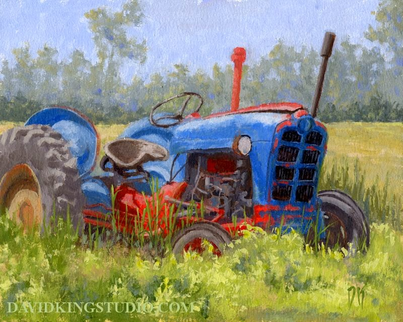 art painting tractor abandoned farm field weeds old