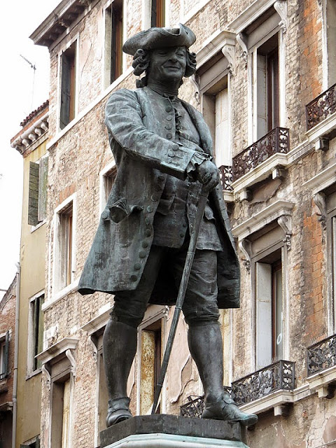 Monument to Carlo Goldoni by Antonio Dal Zotto, Campo San Bartolomeo, Venice,