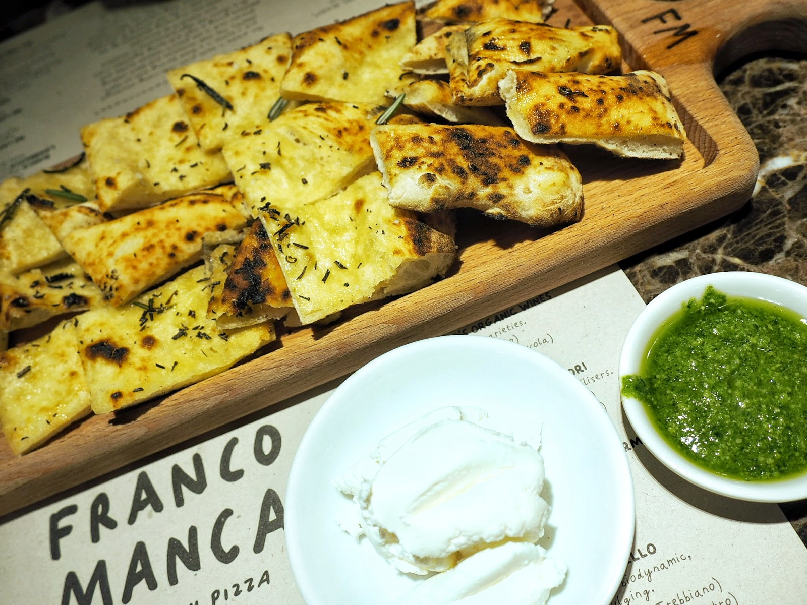 Franco Manca Garlic and Rosmary flat bread