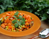 Sweet Potato Salad with Roasted Poblano, Roasted Corn & Chipotle