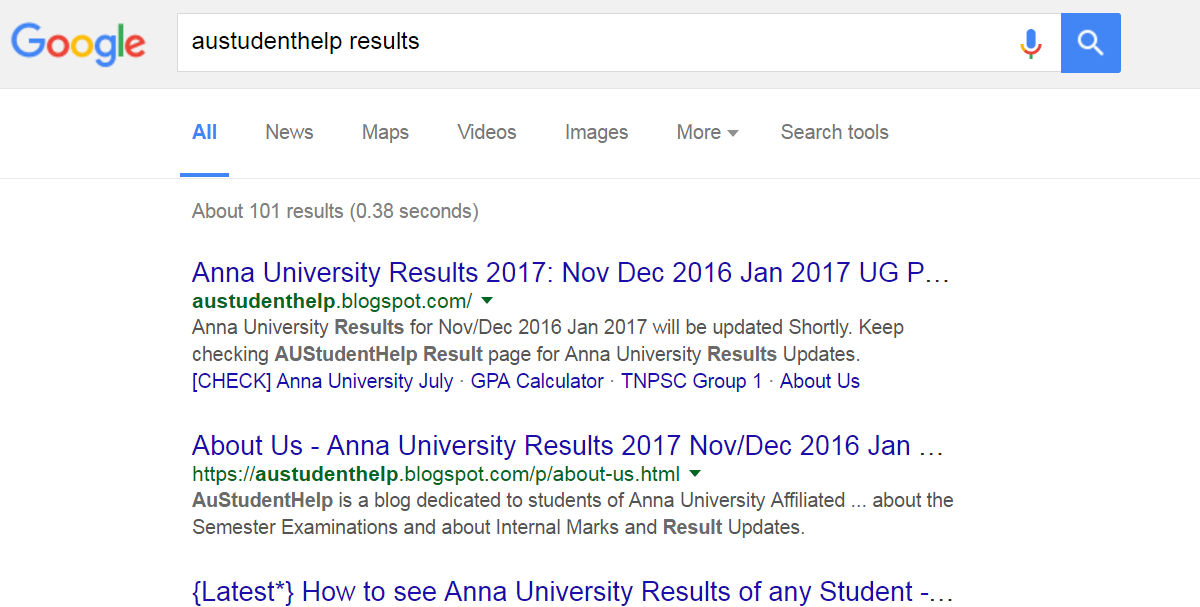 Anna University Results 2016 Nov/Dec 2016 Jan 2017 Updates