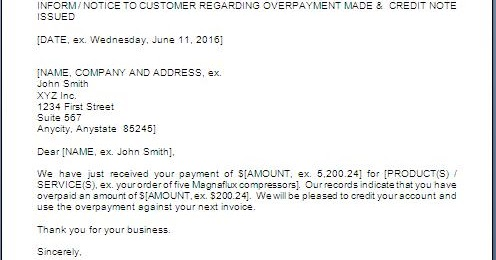 Overpaid Refund Cover Letter