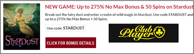 275% no-max bonus and 50 free spins on Stardust slot | RTG casinos