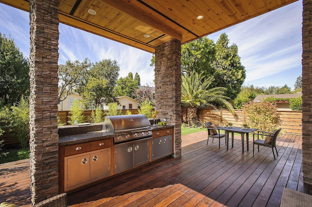 Outdoor kitchen in the Contemporary Style Home in Burlingame