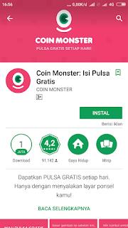 Aplikasi COIN MONSTER gratis pulsa